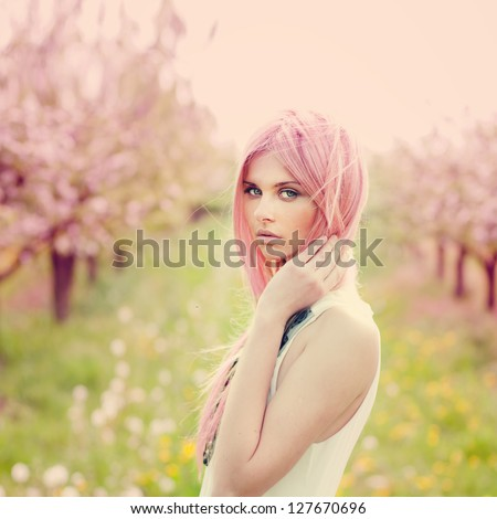 beautiful young woman with pink
