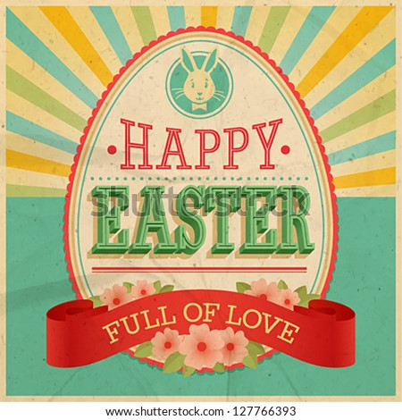 easter vintage card vector