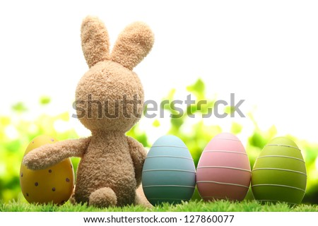 sugar rabbit and easter eggs on