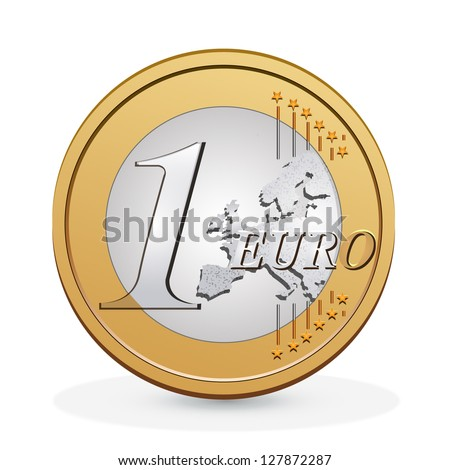 one euro coin vector design