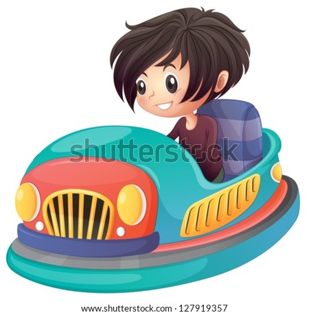 illustration of a boy driving