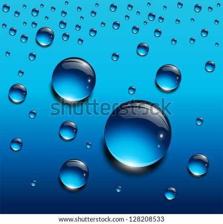 water drops blue  vector