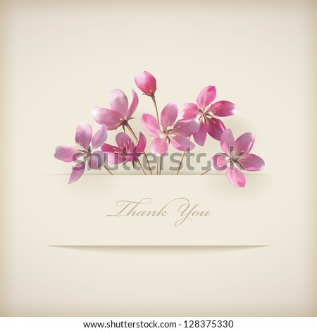 floral 'thank you' card with