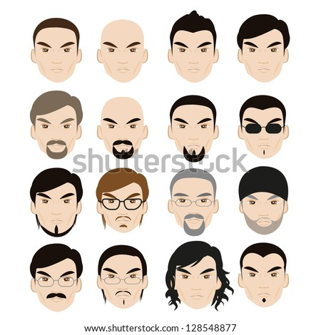 human faces with different