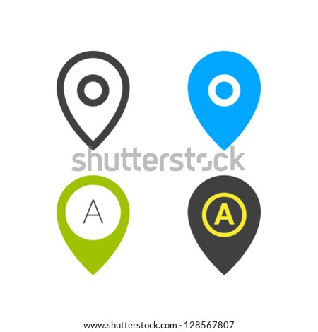 geo tag pin icon vector set