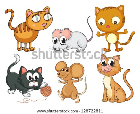 illustration of cats and mice
