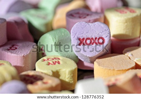 colorful valentine heart candy