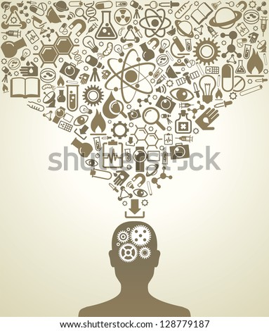 human head and icons of science
