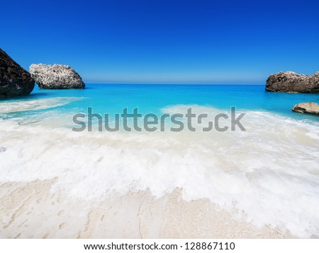 wide angle of wild beach with