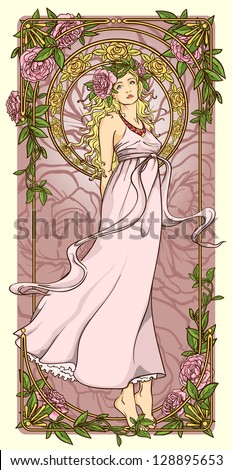 art nouveau woman in vertical