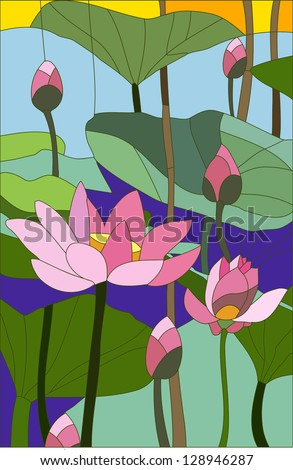 lotus    stained glass window