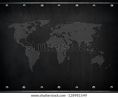 metal plate with world map
