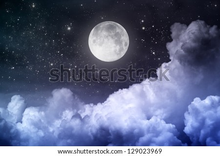 cloudy night sky with moon and