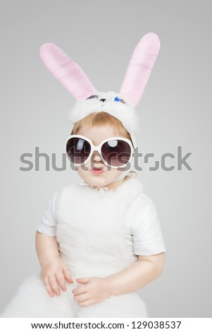 boy wearing a bunny rabbit
