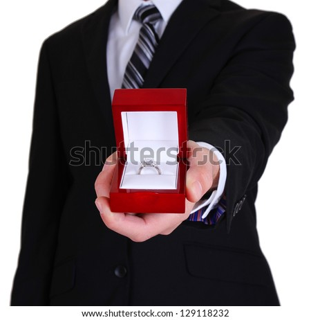 proposing man and holding up an