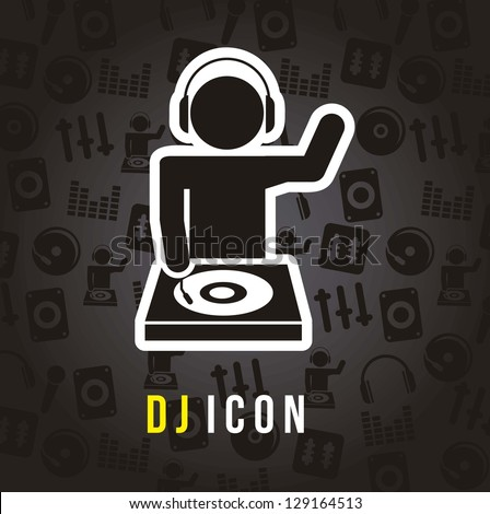 dj icons over black background