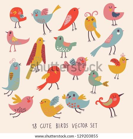 vektör sevimli kuşlar. karikatür ...