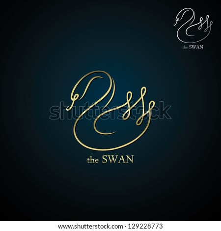 golden swan label   vector