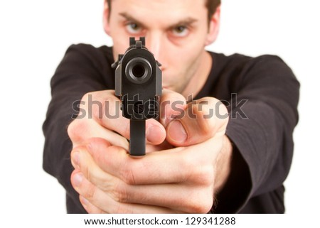 man with a gun  isolated on a
