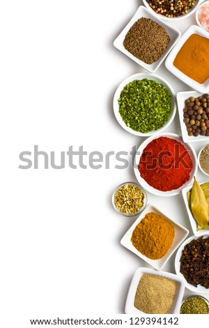 various spices and herbs on