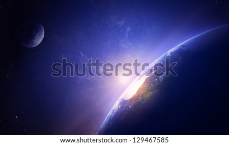 earth sunrise in foggy space