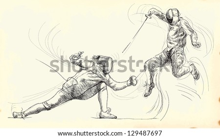 fencing duel     a hand drawn