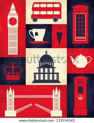 retro style poster with london