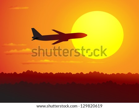 plane in the red sky and the sun