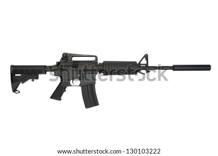 rifle with silencer isolated on