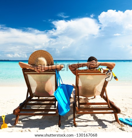 couple on a tropical beach at