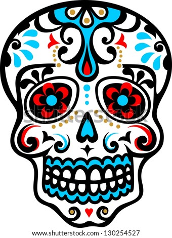 mexican skull   flower ornament