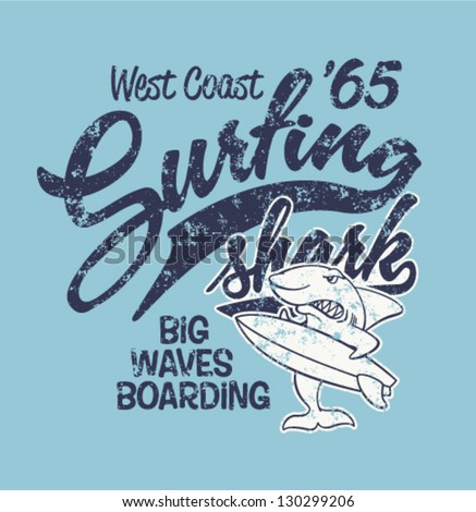 surfing shark   print for boy