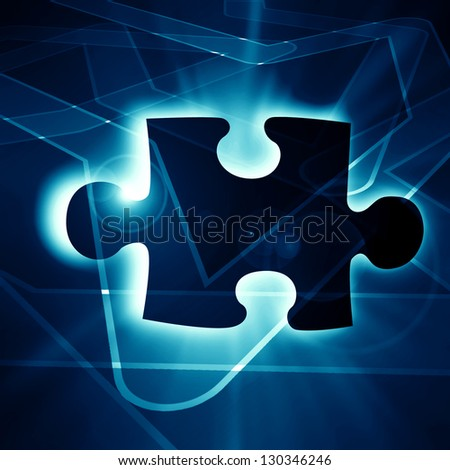 glowing puzzle piece with some