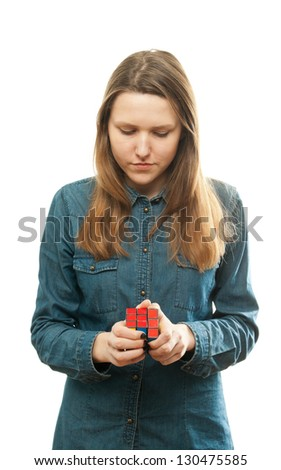 girl playing a cube game