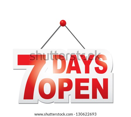 7 days open sign vector