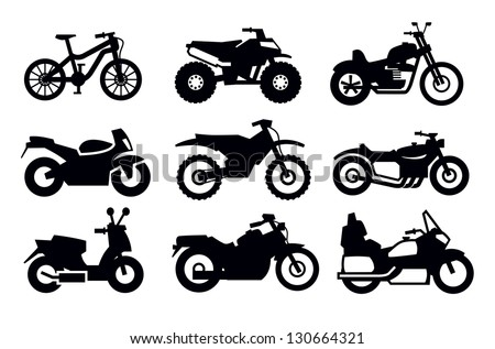 vector black motorcycles and