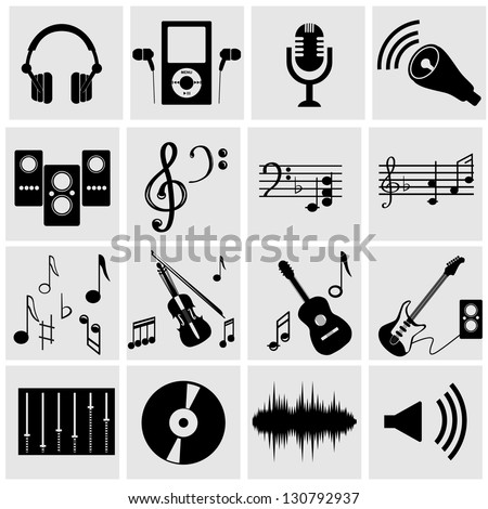 set of icons on a theme music