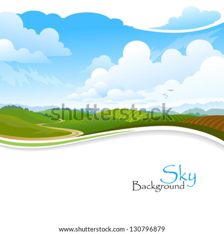 green hills   blue sky and