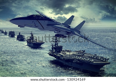 warplane over aircraft carrier