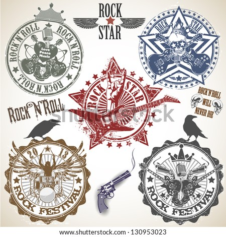 set of stamps with symbols rock'