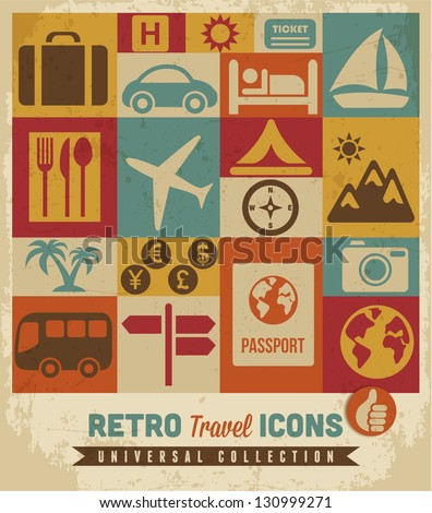 travel icons setvector
