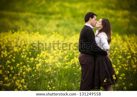 young couple taking a walk on