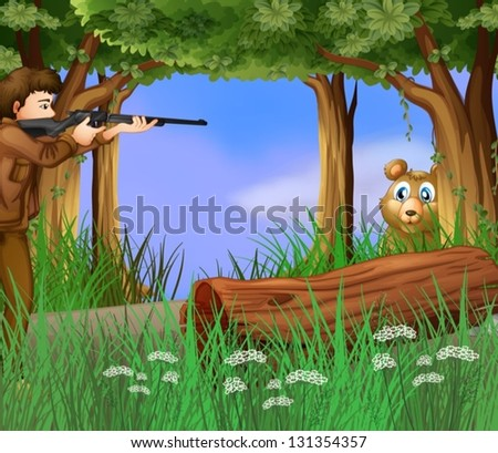 illustration of a hunter and a