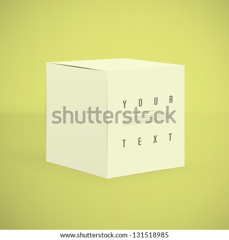 3d cube design vector with text