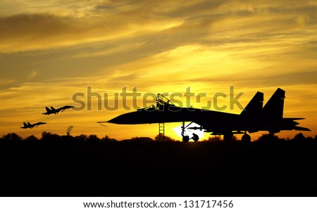 military aircrafts silhouettes