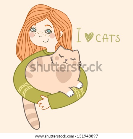 cute girl and her plump cat