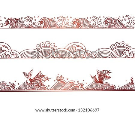vector set of chinese wave