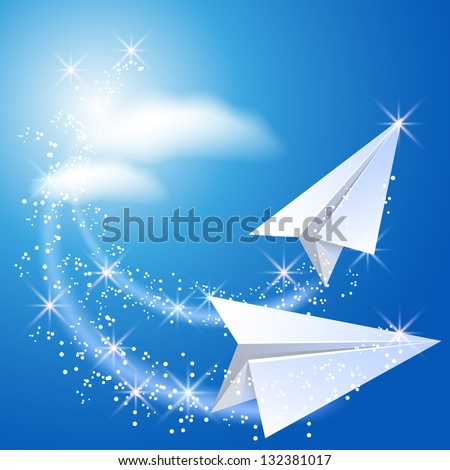 two paper airplane fly up in