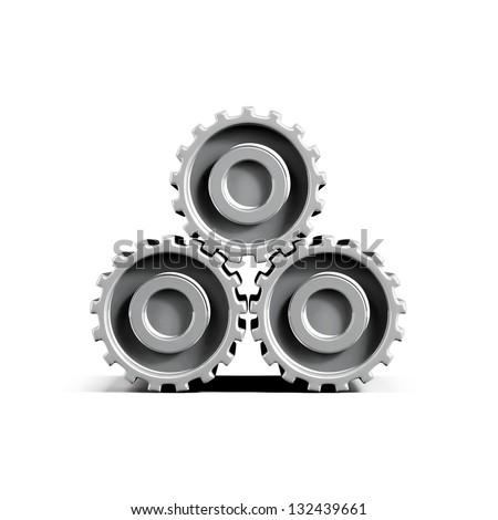 3d gearwheels isolated on white