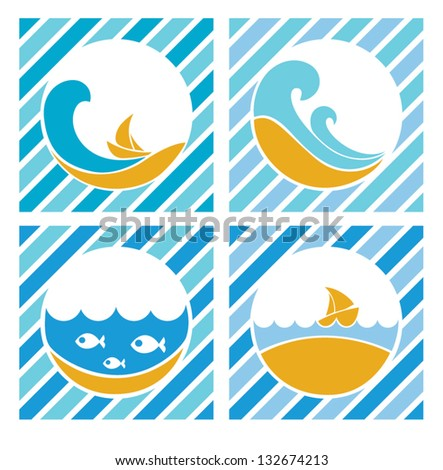 blue sea labels  vector
